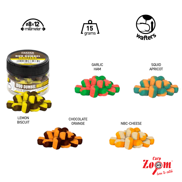 Carp Zoom Duo Dumbel Wafters 8x12mm 15g #Chocolate-Orange