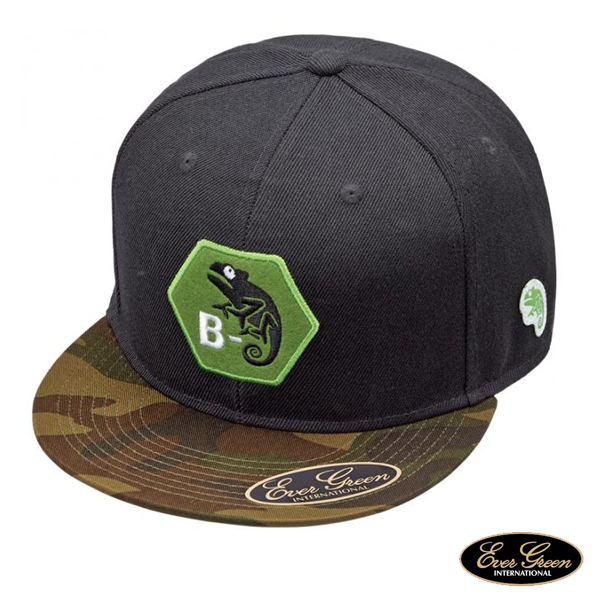 B-True Flat Cap Type C #Green Camo x Black