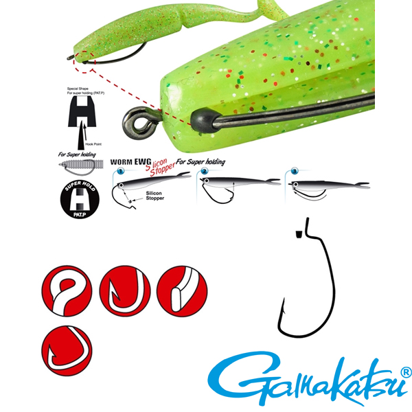 Gamakatsu Worm Offset EWG with Silicon Stoppers #1