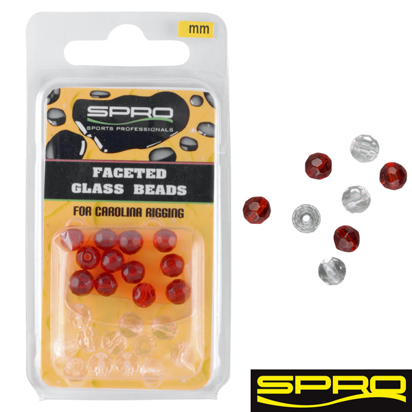 Spro Glass Beads 6 mm weiss/rot