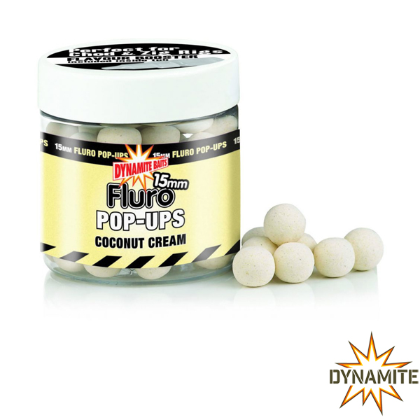 Dynamite Baits Fluro Pop Ups Coconut Cream 15mm
