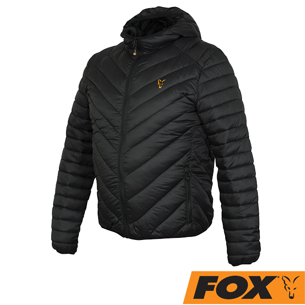 Fox Collection Quilted Jacket #Black/Orange  S