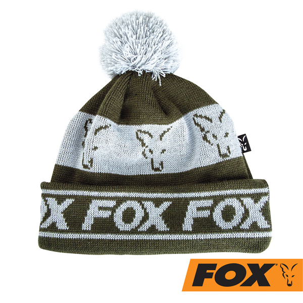 Fox Collection Bobble Beanie Green/Silver